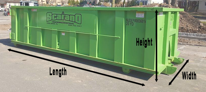 A. Scarano dumpster sizes